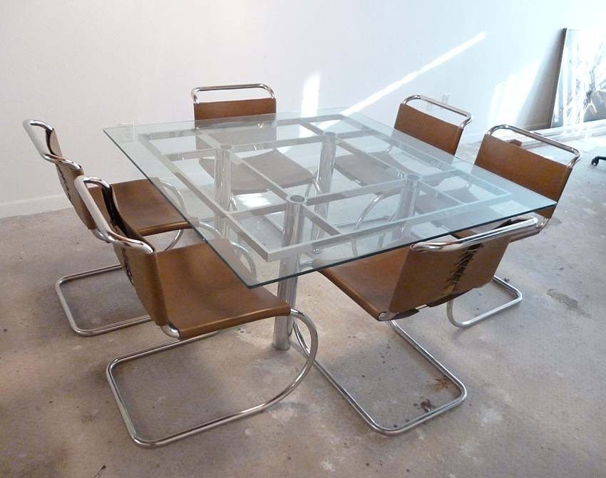 Original Tobia Scarpa Andre Chrome Glass Dining Table By Knoll Glass Dining Table Table Dining Table