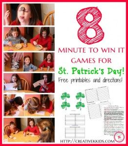 8 fun Minute to Win It games you can play for St. Patrick's Day! Use in the classroom or for family fun. Printables and scoring sheet included! #linky