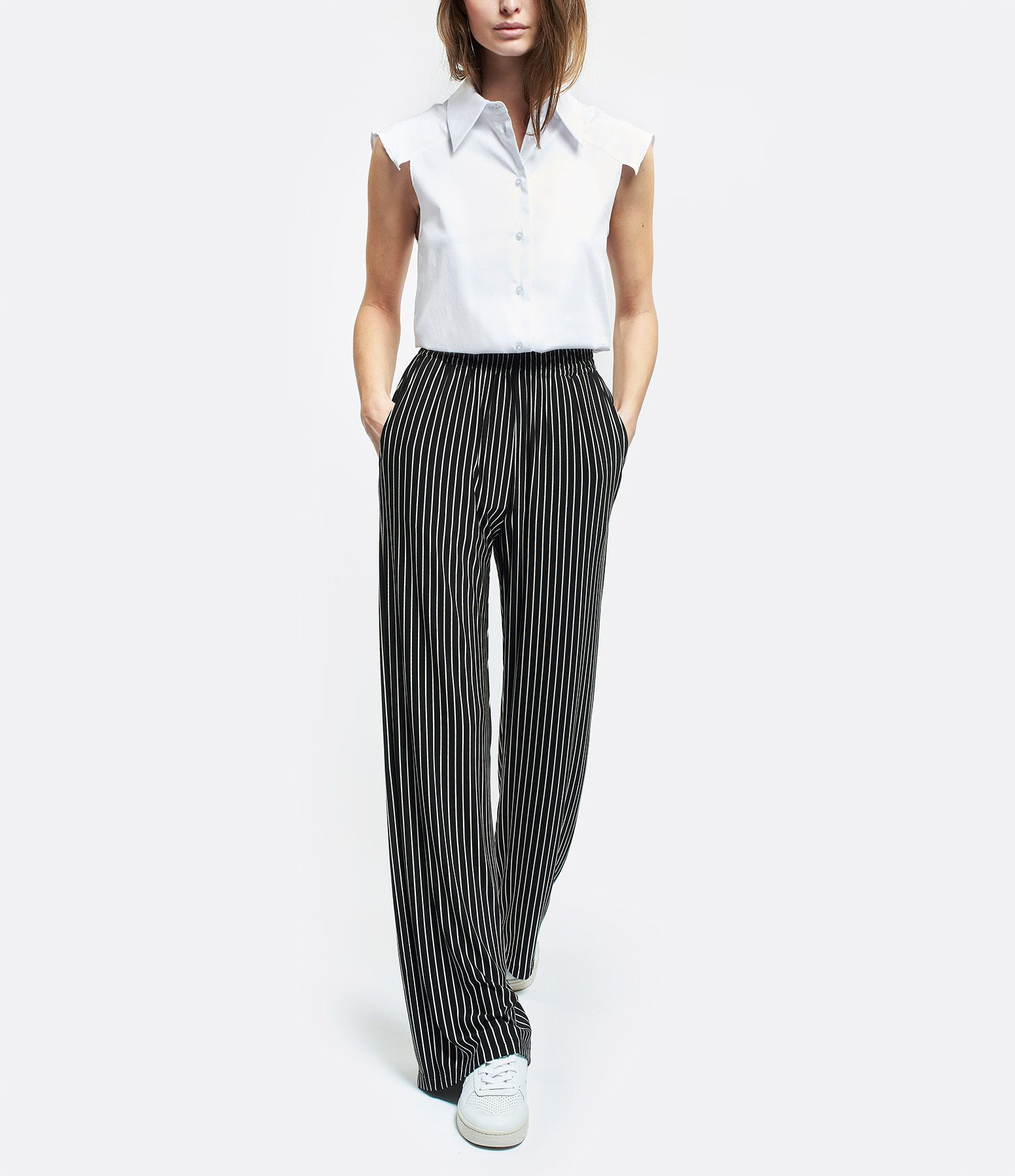 Photo of Pantalon Palazzo Rayures Noir Blanc