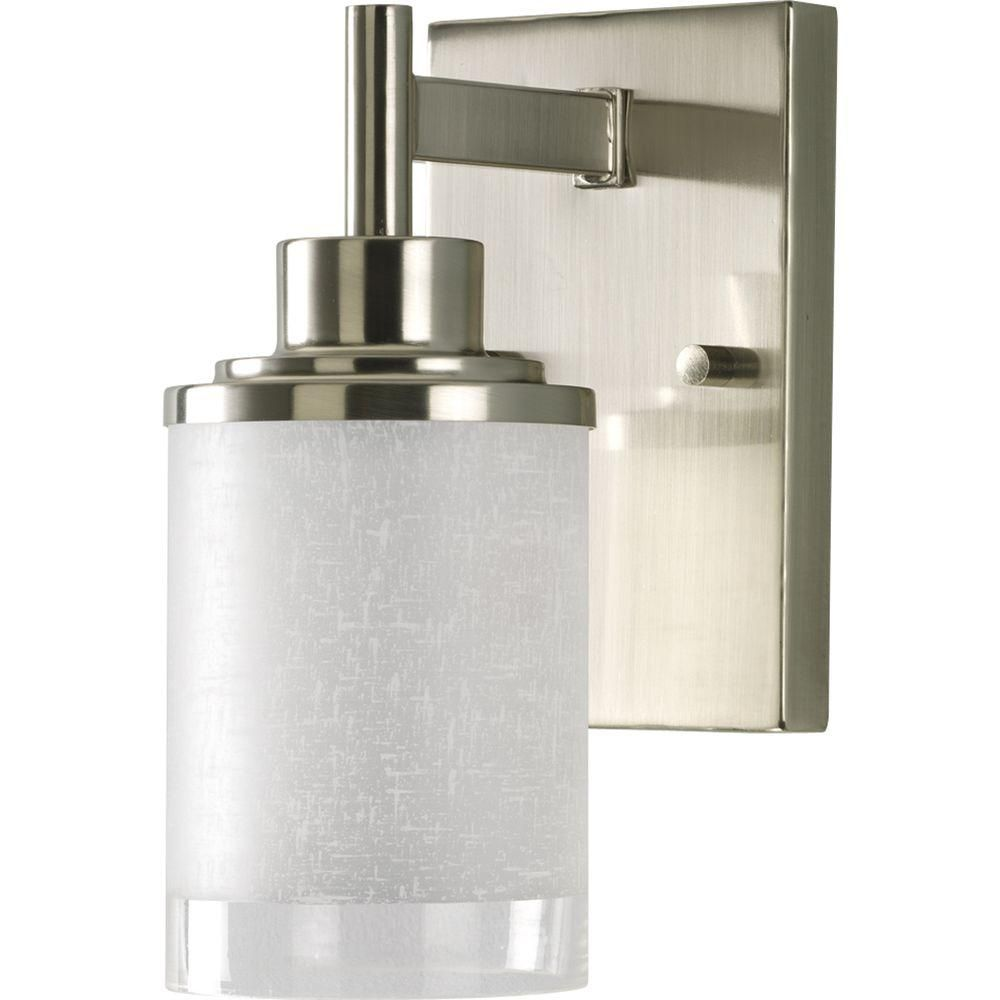 Progress Lighting Alexa Collection 1 Light Brushed Nickel Bath Sconce With White Linen Glass Shade P2959 09 Progress Lighting Vanity Lighting Glass Shades