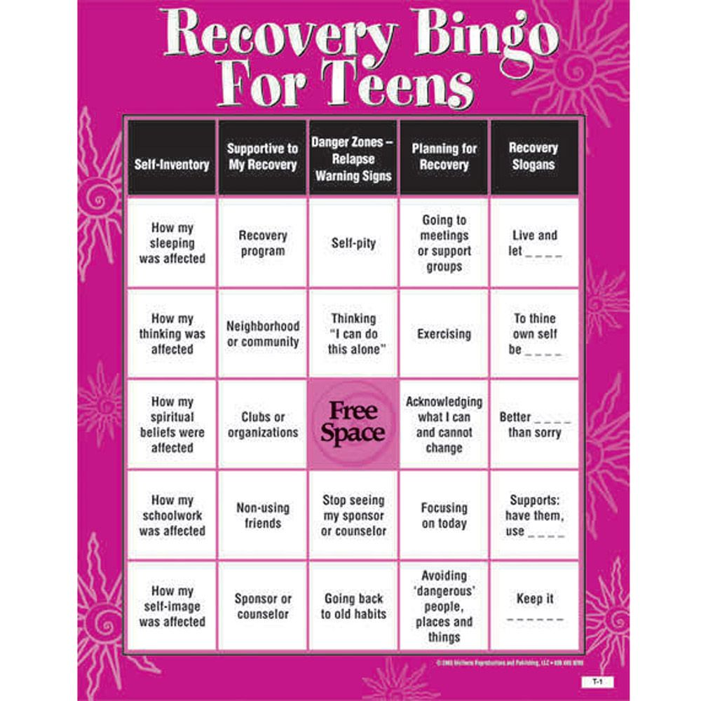 Recovery bingo game for teens addiction recovery pinterest recovery bingo game for teens nvjuhfo Image collections