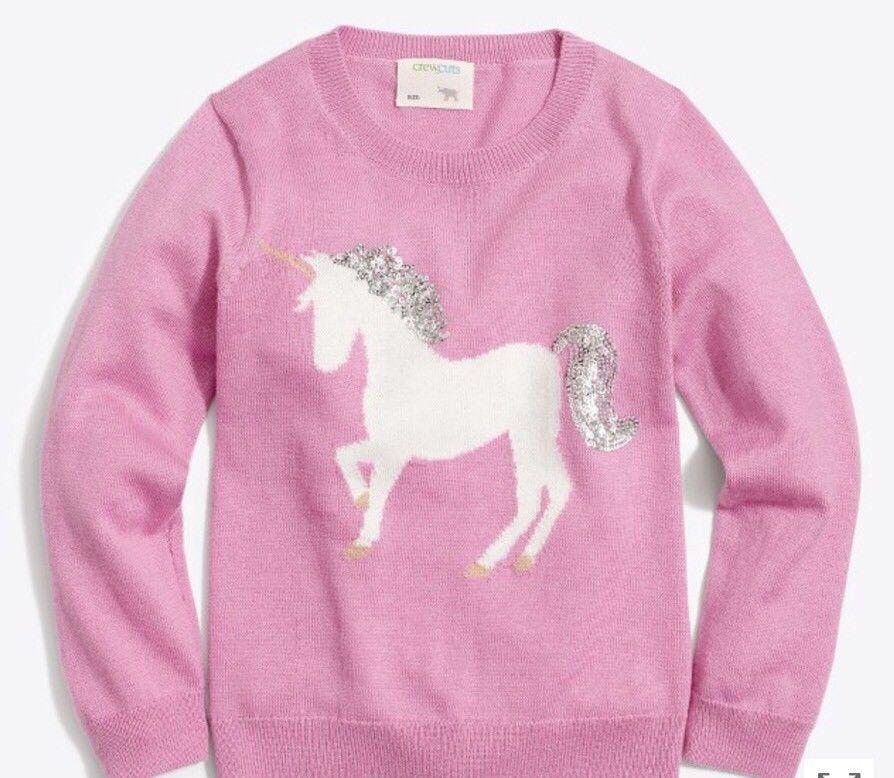 3800692de JCrew Crewcuts Girls  unicorn intarsia popover sweater