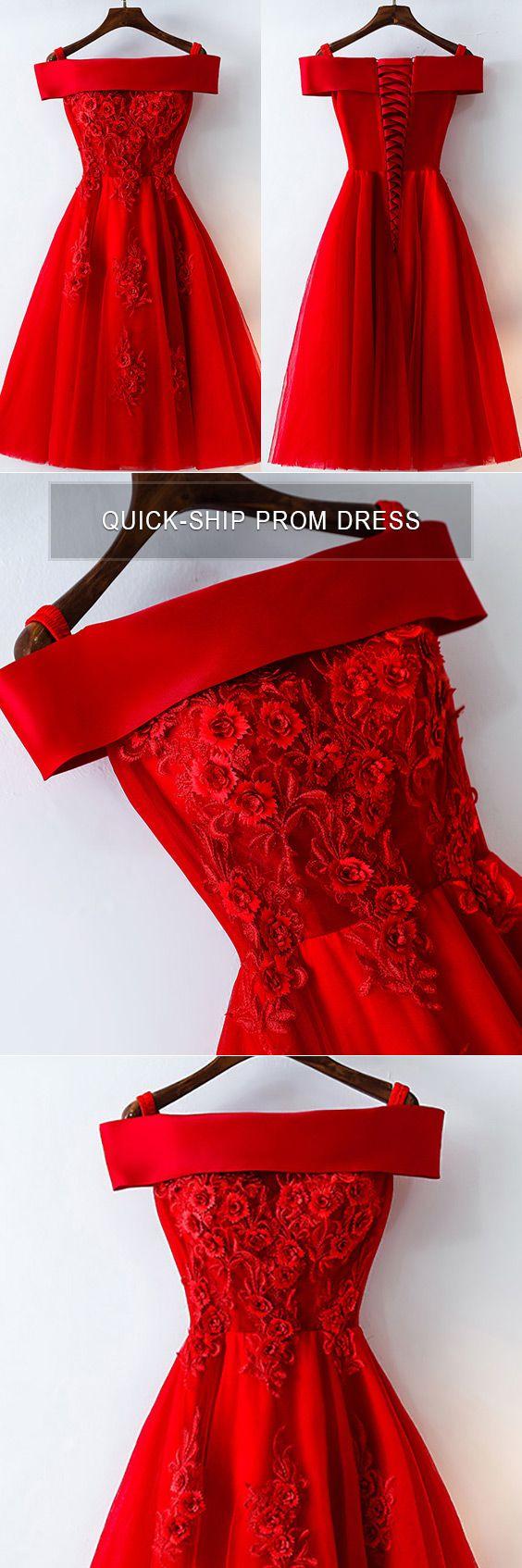 Short off shoulder red lace bridal party dress myx gemgrace