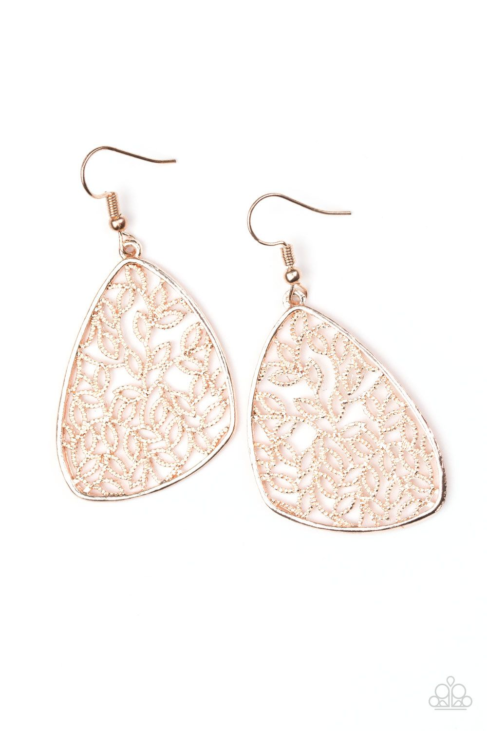 a369cfea7 Time To LEAF - Rose Gold Paparazzi Jewelry, Paparazzi Accessories, Rose  Gold Earrings,