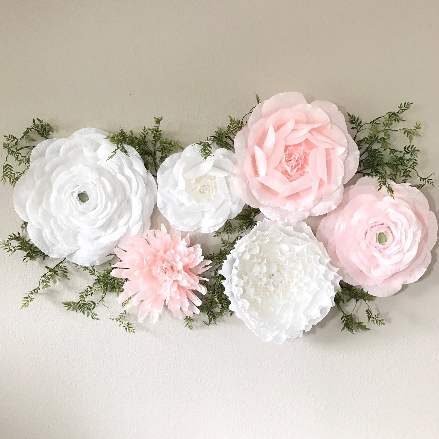 Crepe Paper Wall Flower Set Of Mixed Styles Paper Ranunculus Paper Roses Nursery
