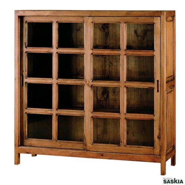 Vitrina de estilo rústico, realizada en madera maciza de pino ...