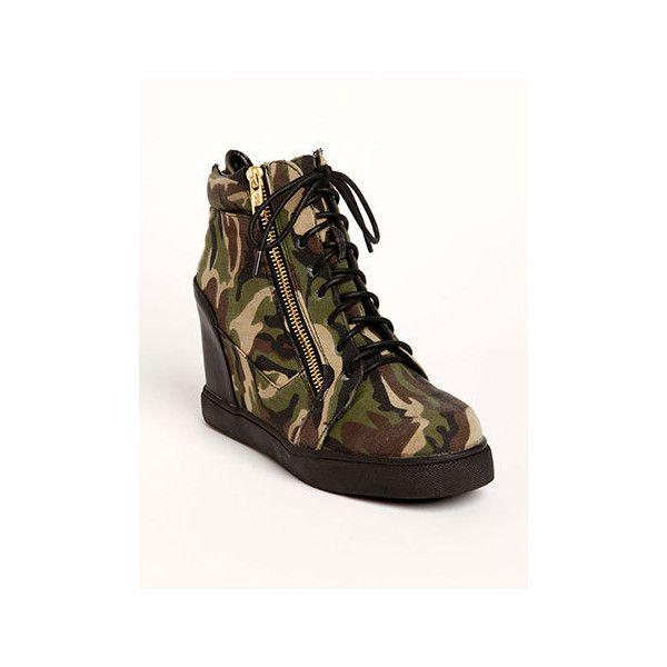 Camo Zip Wedge Sneaker ($46) via Polyvore