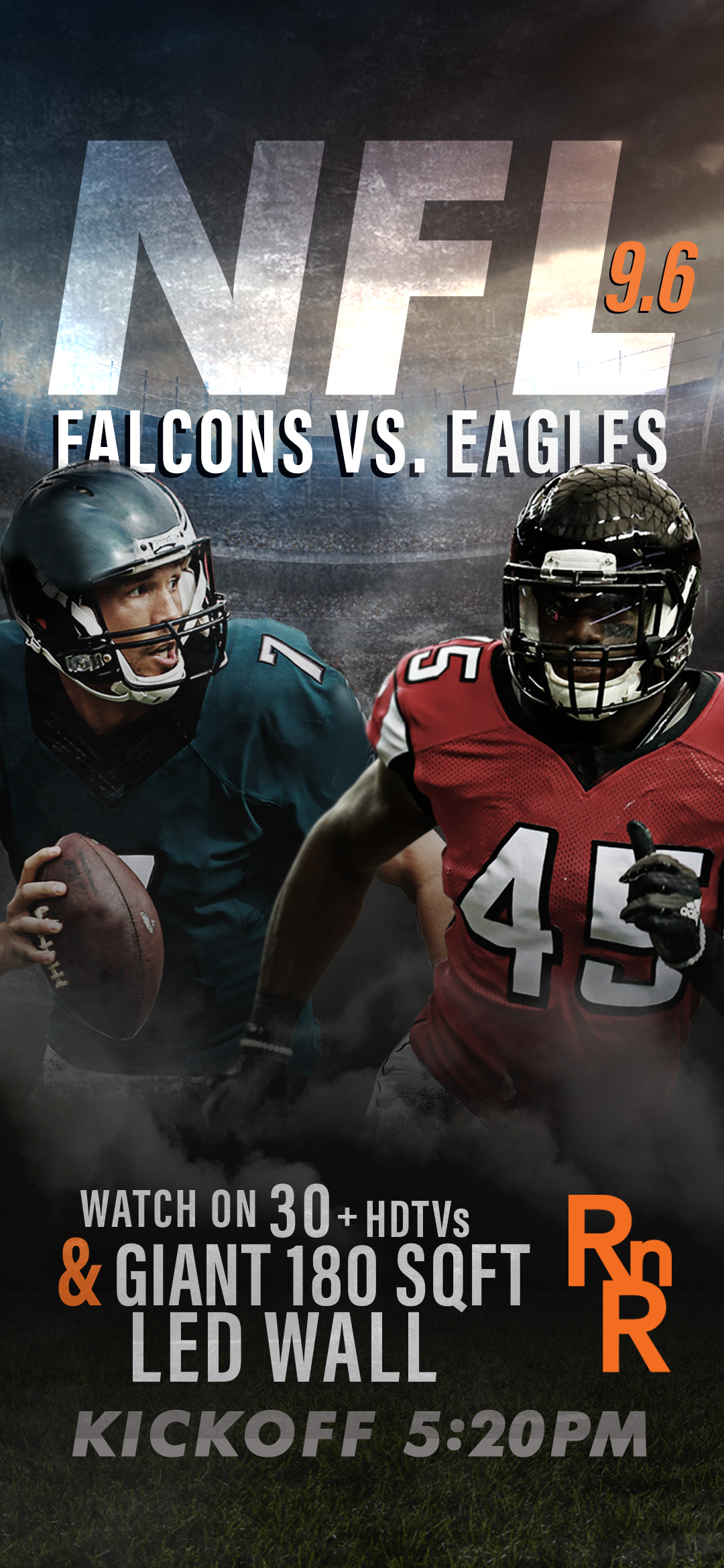 Nfl Is Back Falcons Vs Eagles 30 Hdtvs And A Giant Led Wall Make Rnrscottsdale Your 1 Draft Pick For Watching Any Game Football Helmets Oldtown Falcons