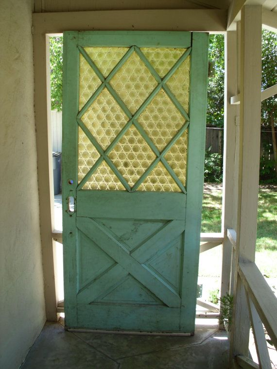 Vintage exterior solid wood front door, green on one side, white ...