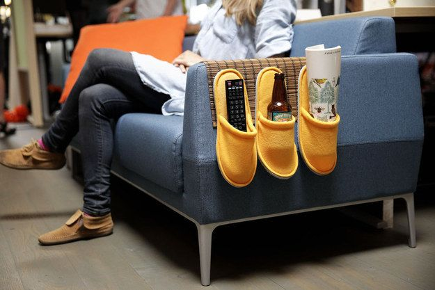This is somewhat strange, but incredibly useful: a couch caddy made from a Toga place mat and some Njuta slippers. | 33 Unexpected Things You Can Make With Ikea Products