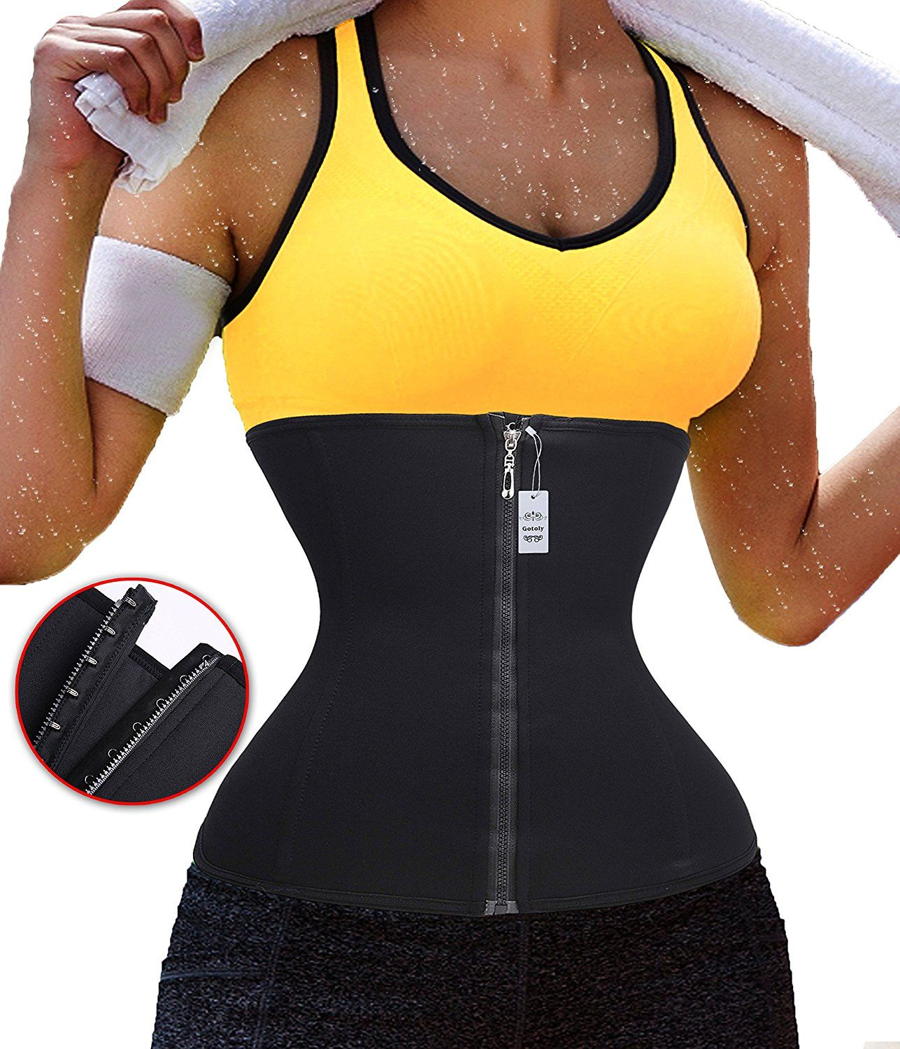 a651aa70a5082 Gogoly Zipper Hook Eliminates muffin top Fitness Yoga Waist Trainer for  weight loss    To view further