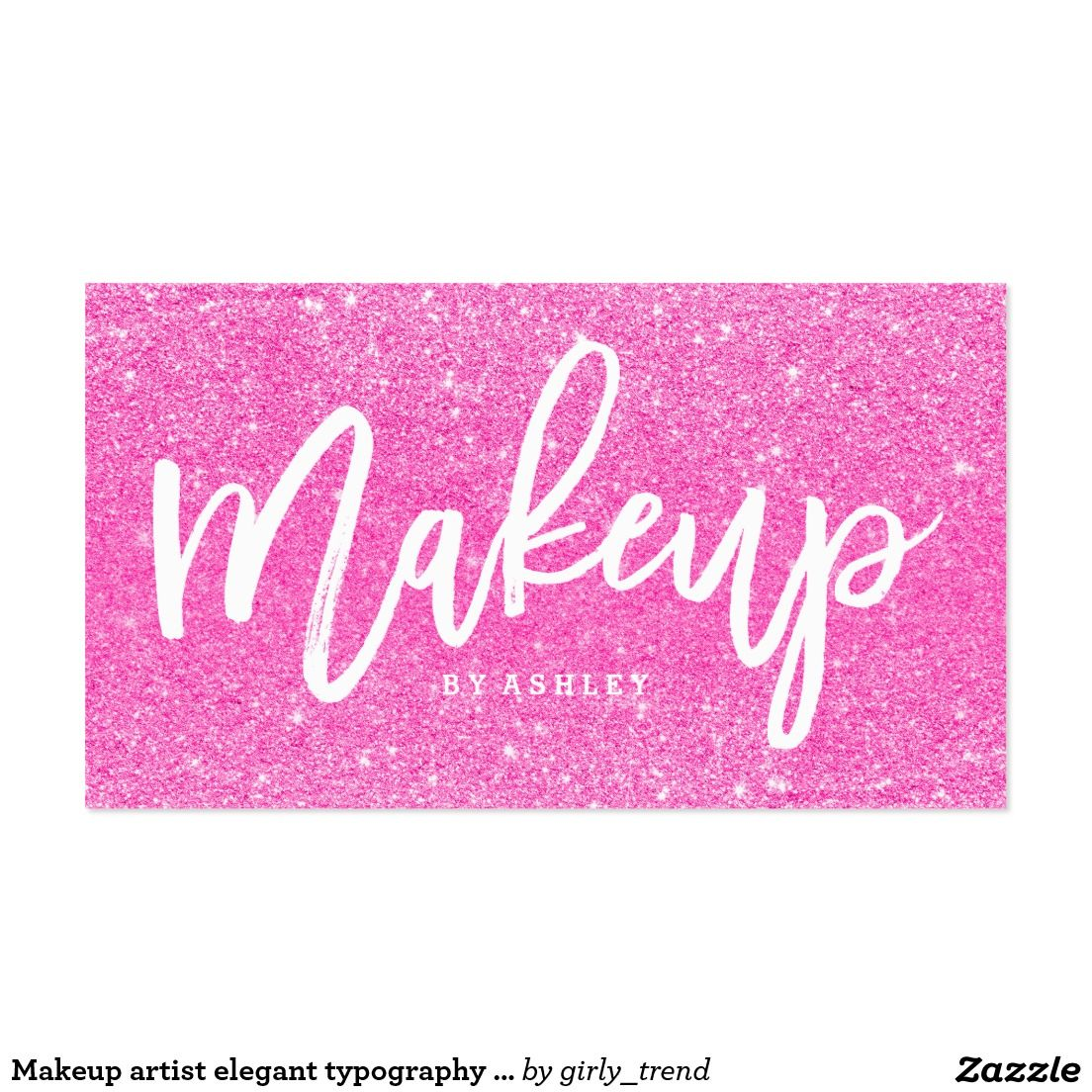 Makeup artist elegant typography faux pink glitter business card ...