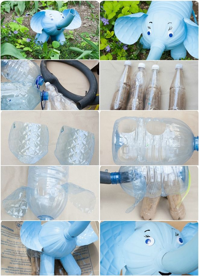 How to make an elephant out of plastic bottles #recycledcrafts