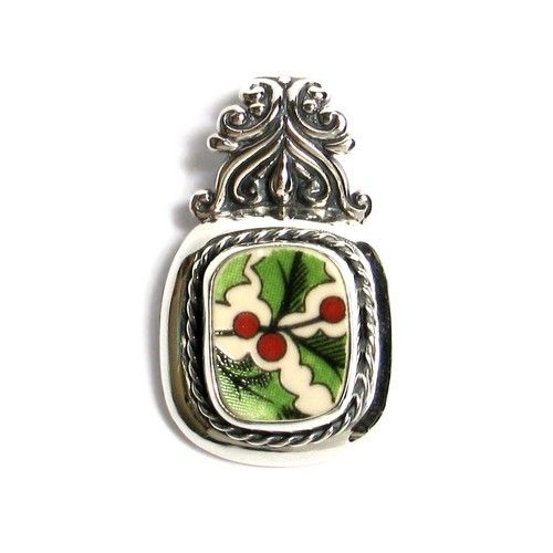 Broken China Jewelry - Spode Christmas Tree Holly - Sterling Silver