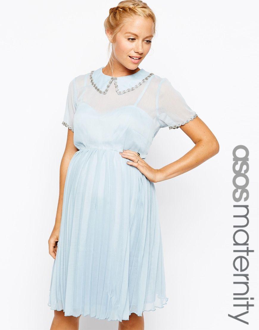 82ddbae69c439 ASOS Maternity Skater Dress With Embellished Peter Pan Collar - Pale blue  $43.00 AT vintagedancer.com