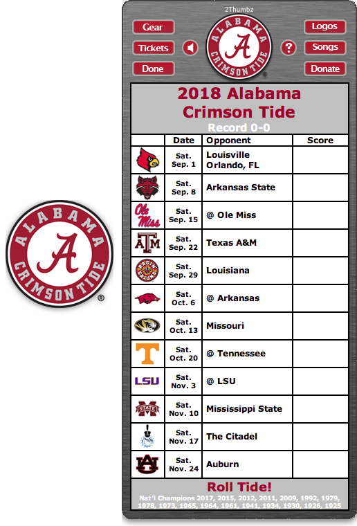 Get your 2018 Alabama Crimson Tide Football Schedule