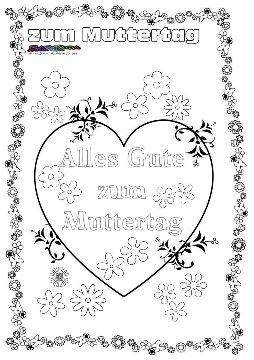Muttertag Ausmalbild Malvorlage Gruss Mit Herz Muttertag