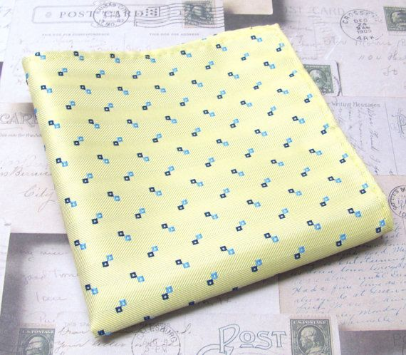 Pocket Squares Yellow And Blue Hankies By Tieobsessed On Etsy