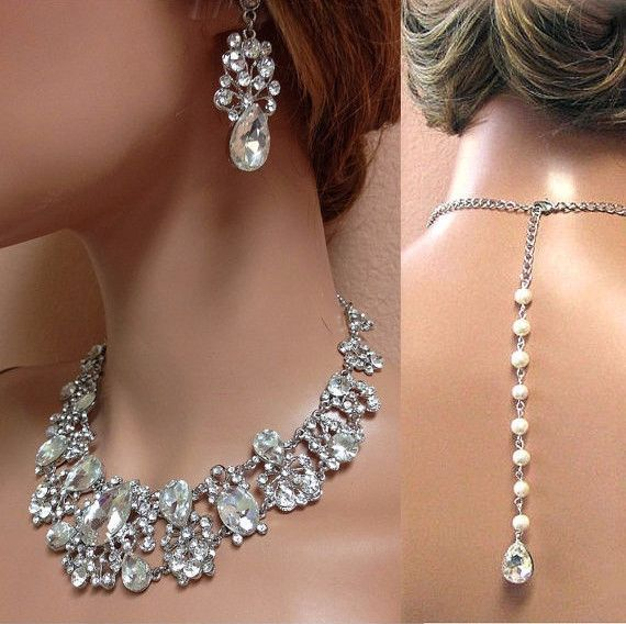 Rhinestone Crystal Silver Necklace Earring Wedding Jewelry Set