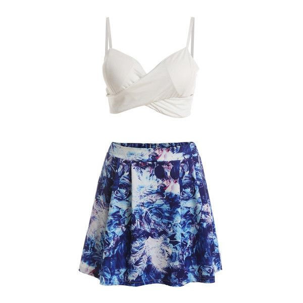 SheIn(sheinside) Deep V Neck Crop Top With Florals Skirt (74 BRL) ❤ liked on Polyvore featuring tops, white, floral crop top, floral print top, white v neck top, crop top and deep v neck crop top