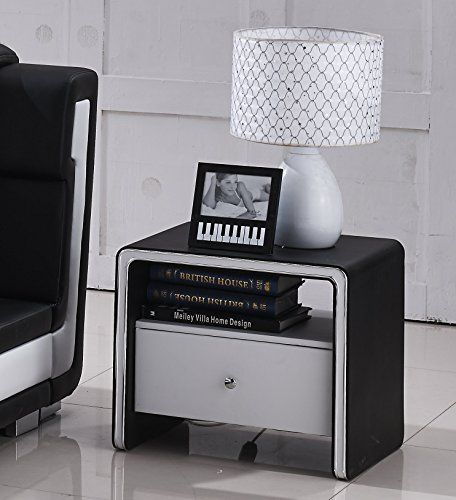 container furniture direct liam collection 2 tone faux leather 1 shelf and 1 drawer nightstand