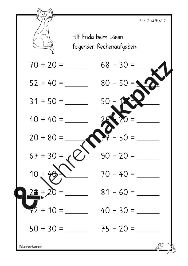 Arbeitsblätter mit Frida   Addition und Subtraktion im Zahlenraum ...