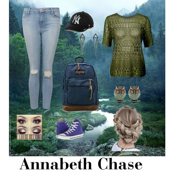 Annabeth Chase by quinnruby on Polyvore featuring J Brand, Converse, JanSport, Betsey Johnson, Eva Fehren and '47 Brand