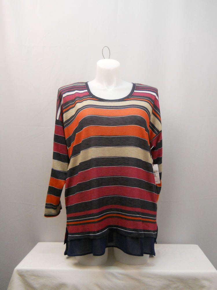 Jessica Simpson Multi Striped Scoop Neck Long Sleeves Pullover Knit Top Size 2X #JessicaSimpson #KnitTop #Casual