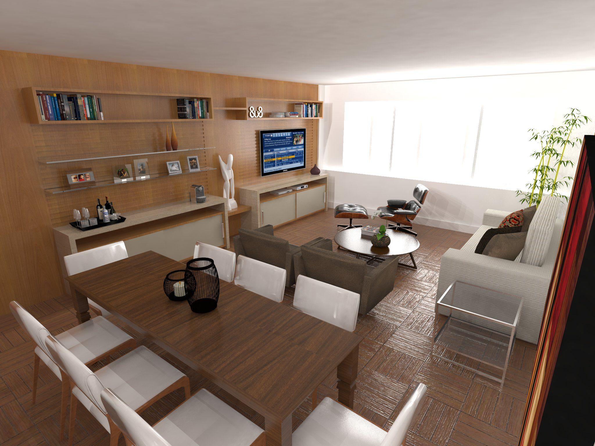 Sala de TV e Jantar. Projeto: Escritório de Arquitetura Servino e Assed Renderização: Estúdioi - Desenhos em 3D e Renderização de Imagens para Arquitetura