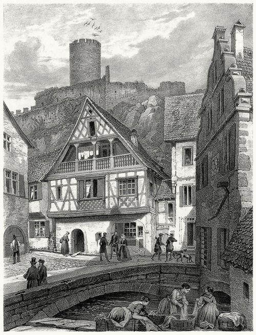 View of Kaysersberg.  Th. Müller from Strasbourg illustré (Strasbourg illustrated), by Frédéric Piton, Strasbourg, Leipzig, Paris, Basel, 1855.  (Source: archive.org)