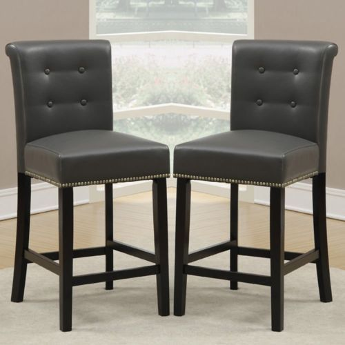 Set Of 2 Dining High Counter Height Chair Bar Stool 24 034 H Grey