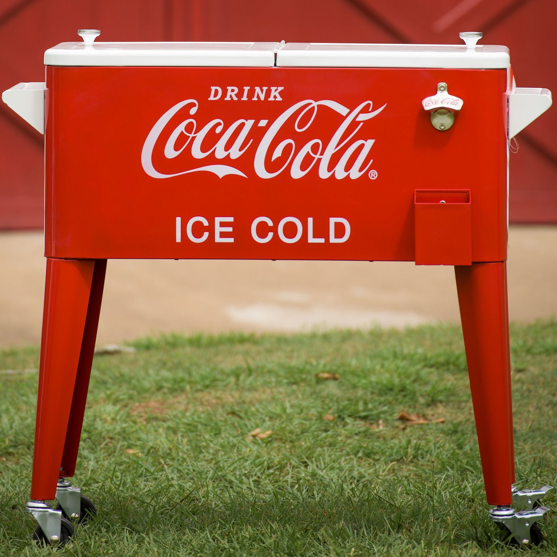 80 Qt Coca Cola Ice Cold Heavy Duty Rolling Cooler