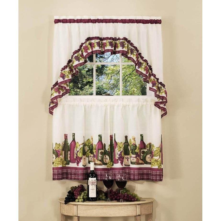 Achim Chardonnay Tier and Swag Kitchen Curtain Set (57x24 - Burgundy ...