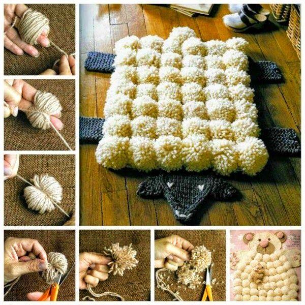 Alfombra de pompones   Todo crochet