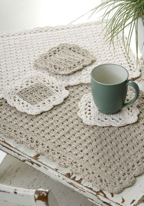 Options placemat and coaster set crochet pattern by Red Heart | jean ...