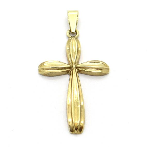 Handcrafted 14K Gold Cross Small Golden Cross Pendant Christian