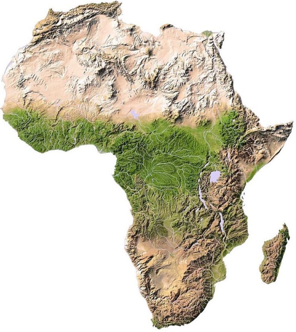 Topographic raised relief map of Africa | History | Africa map