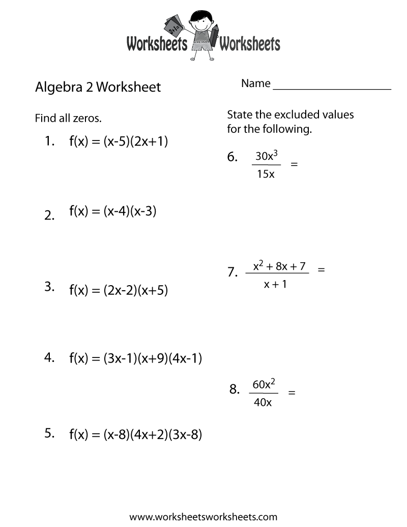 Algebra 2 Practice Worksheet Printable   Algebra worksheets [ 1035 x 800 Pixel ]