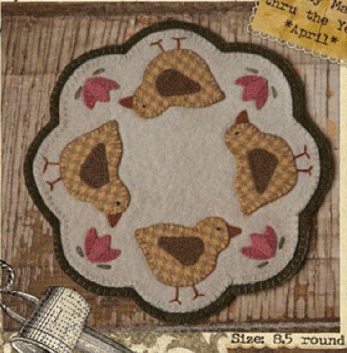 "Primitive Folk Art Wool Penny Rug Pattern -- Penny Chicks - April by Buttermilk Basin - 8.5"" round"