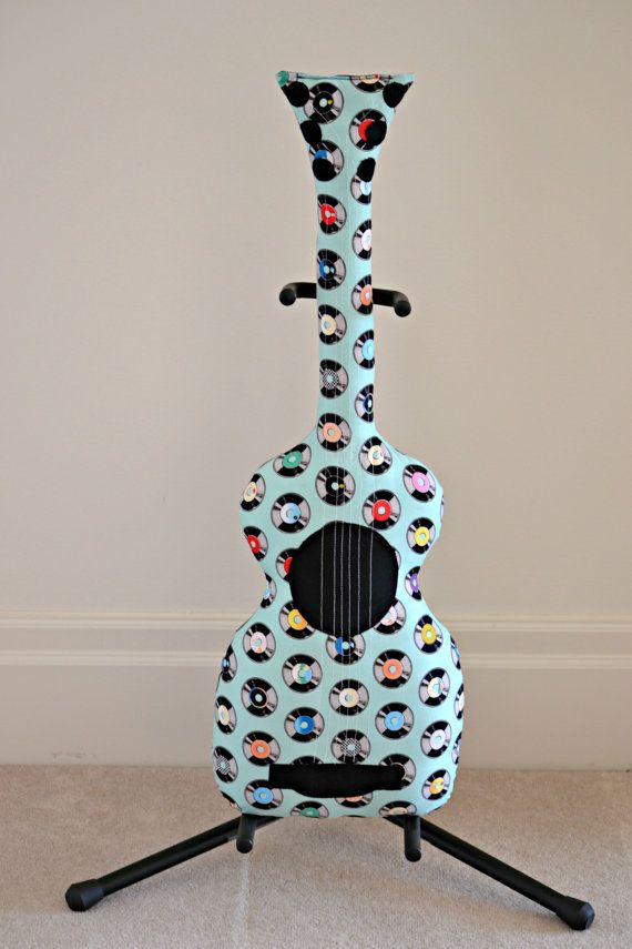 Classic Rocking Records Guitar Pillow / Guitar by pookiedookie