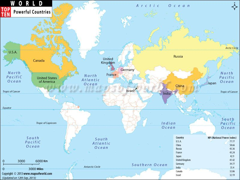 Here are the most powerful countries of the world Is your country - best of world map true country size
