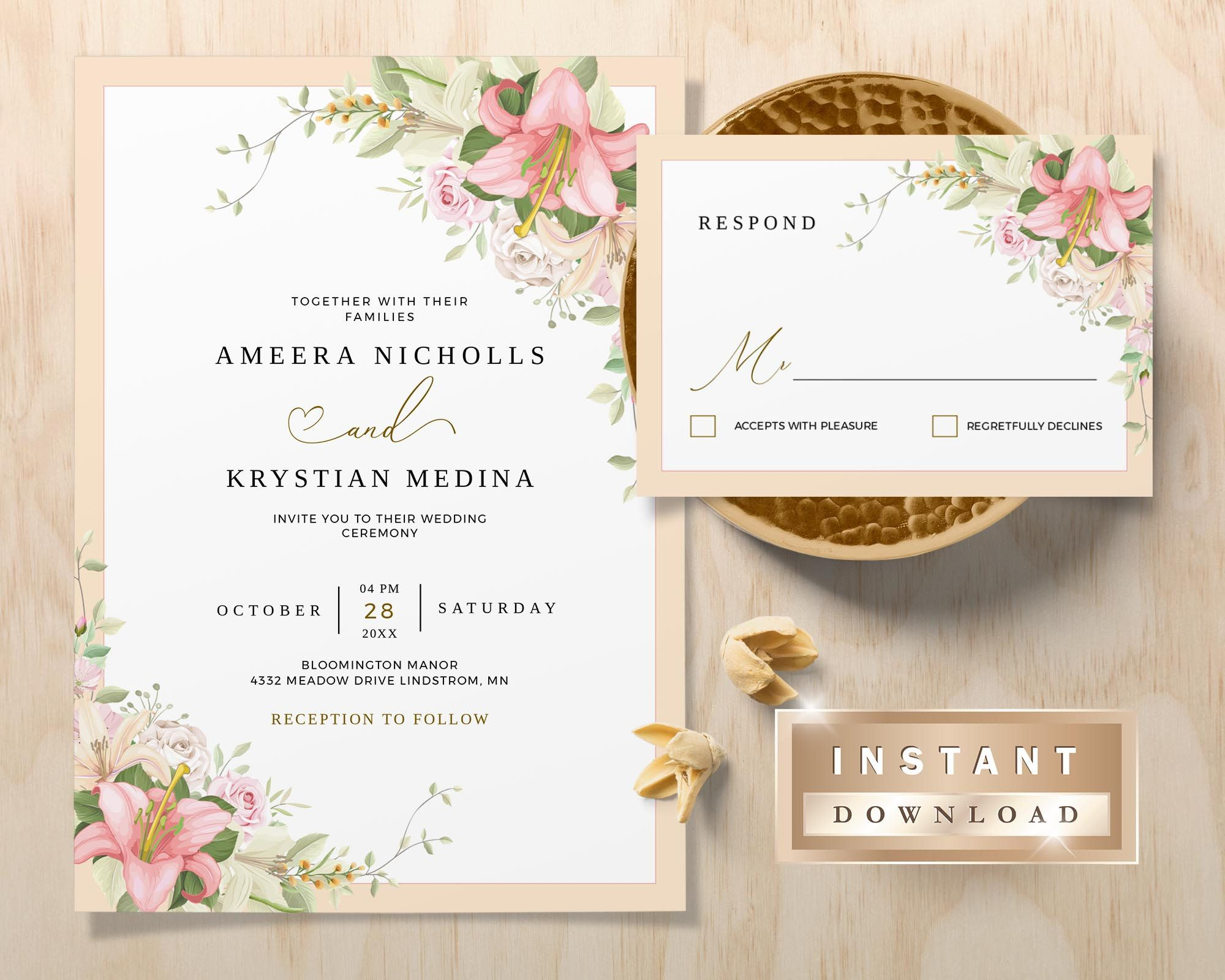 Blush Wedding Invitation Template Instant Download Pink   Etsy Gallery