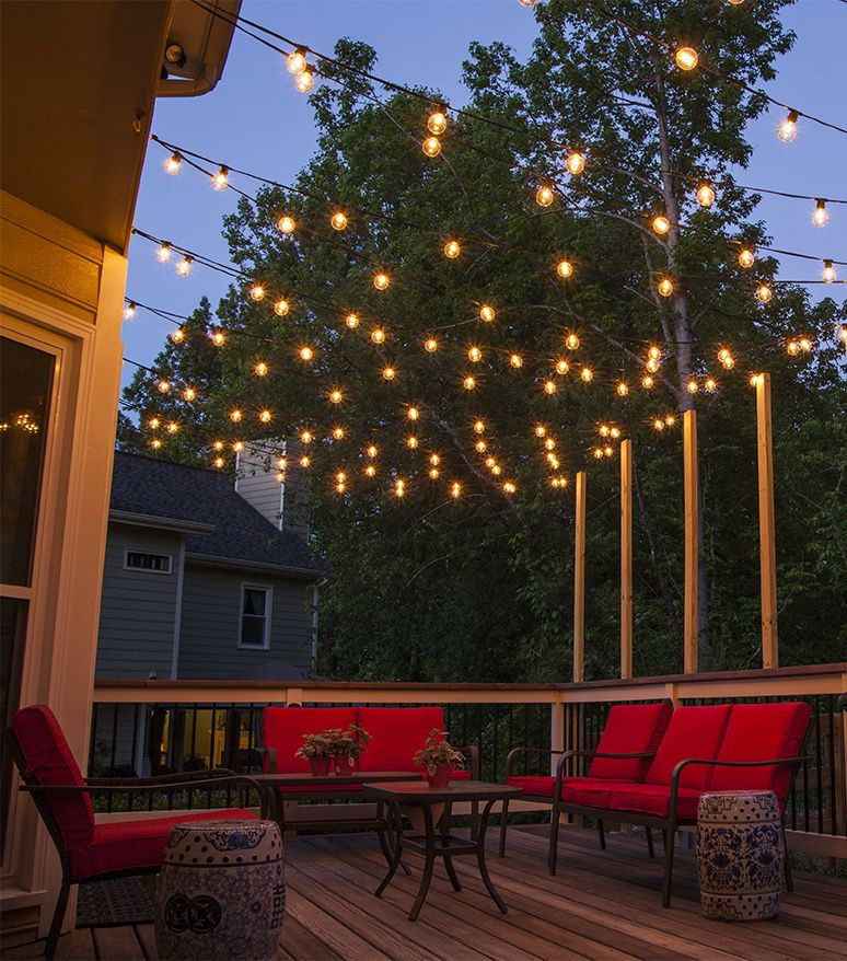 How to plan and hang patio lights patio lighting outdoor living outdoor lighting hang patio lights across a backyard deck outdoor living area or patio guide for how to hang patio lights and outdoor lighting design aloadofball Gallery