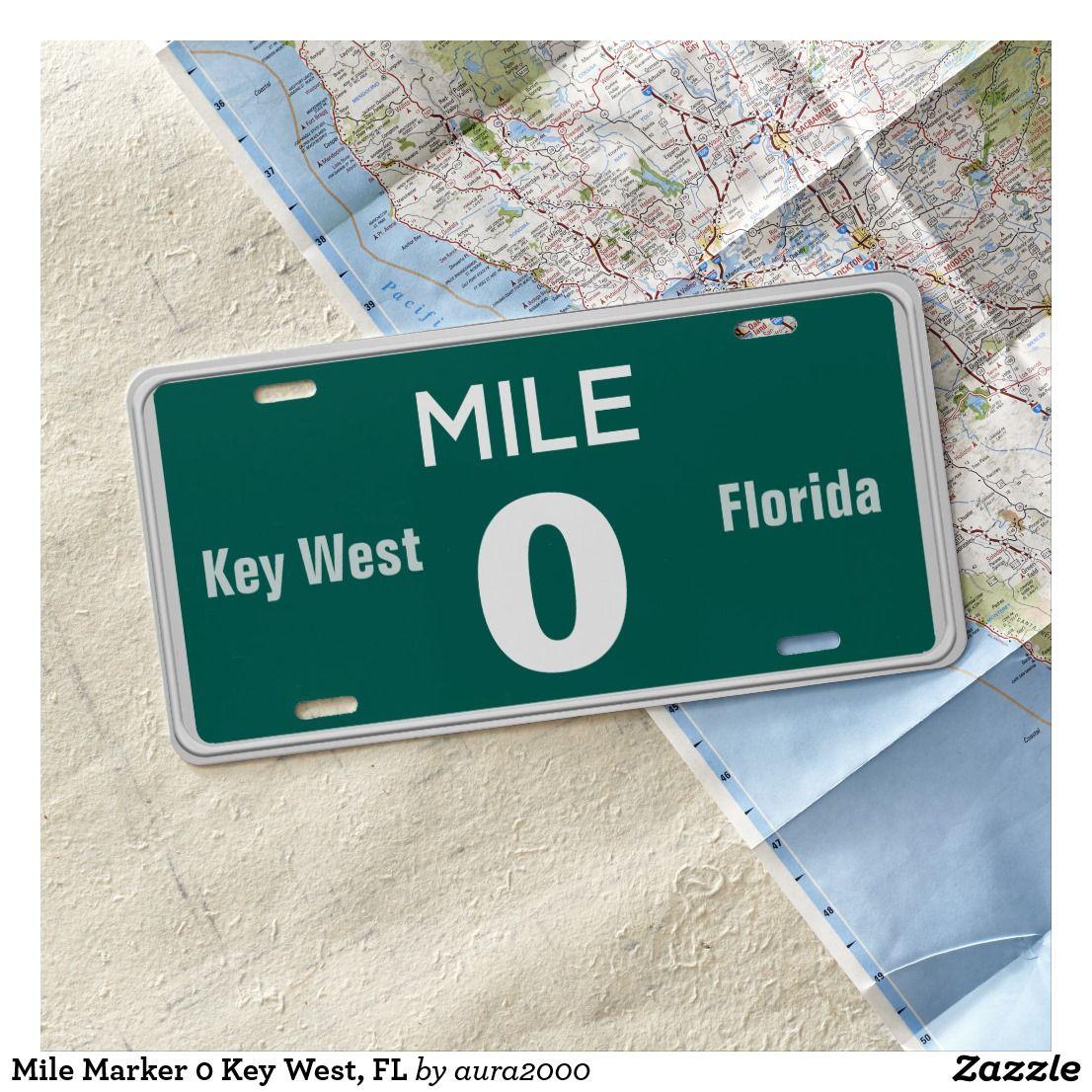 Mile marker 0 key west fl license plate