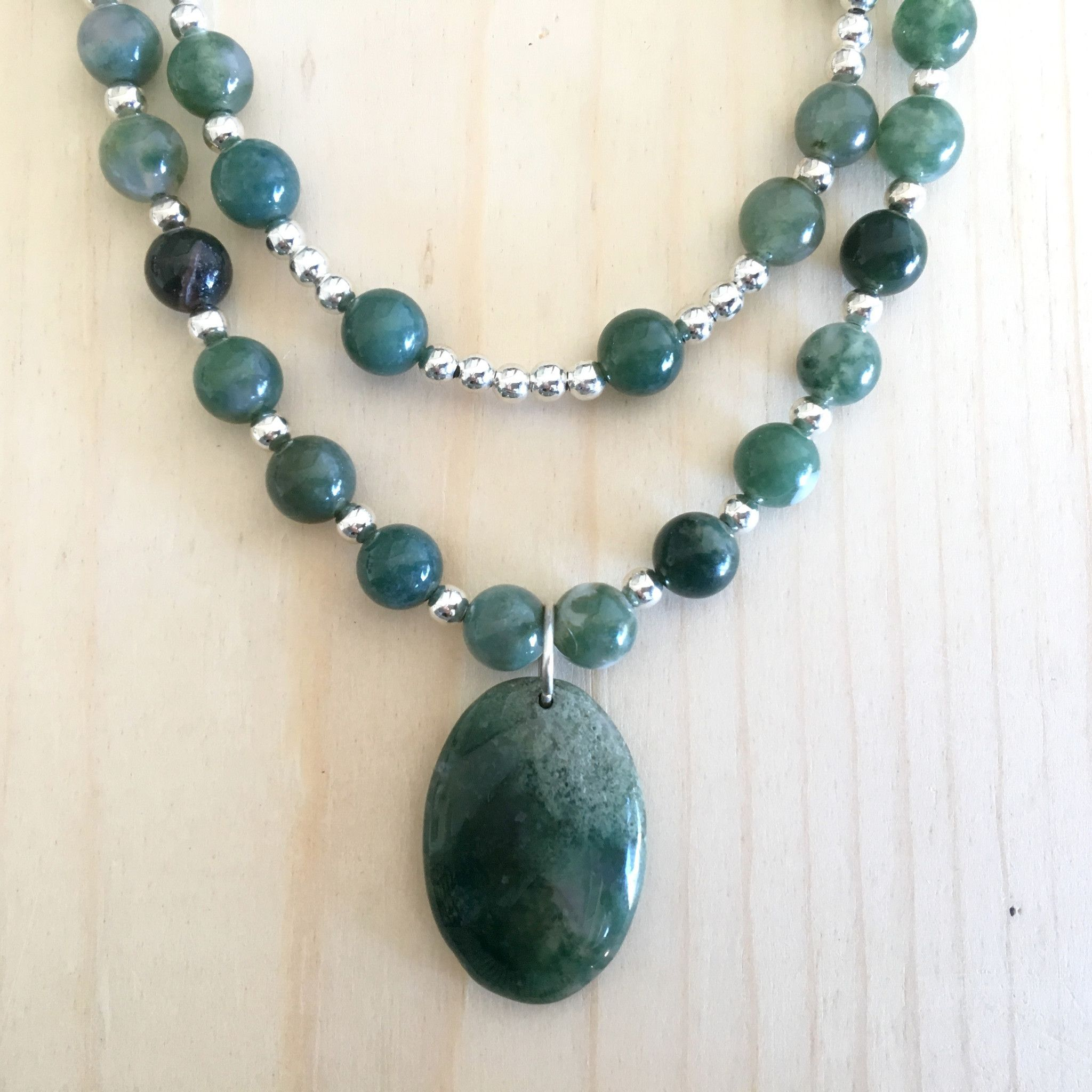 amulet jai natural pa pentagon matte necklace products stones grey with thai moss agate semi hand style precious knotted authentic paragon