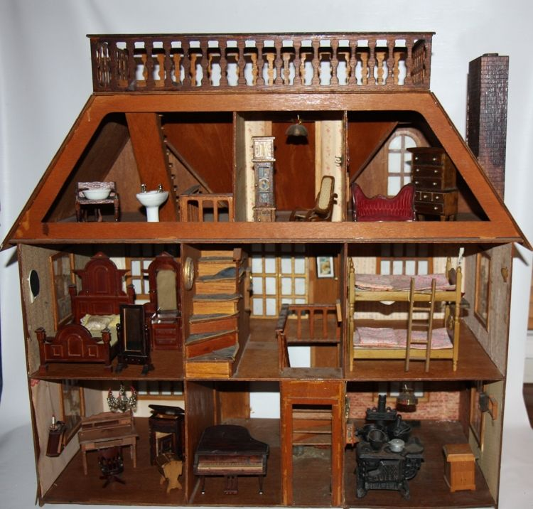 Antique Doll House Van Buren Greenleaf Furniture Vintage Wooden Wood
