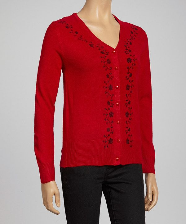 Take a look at this Red Floral Cardigan on zulily today!