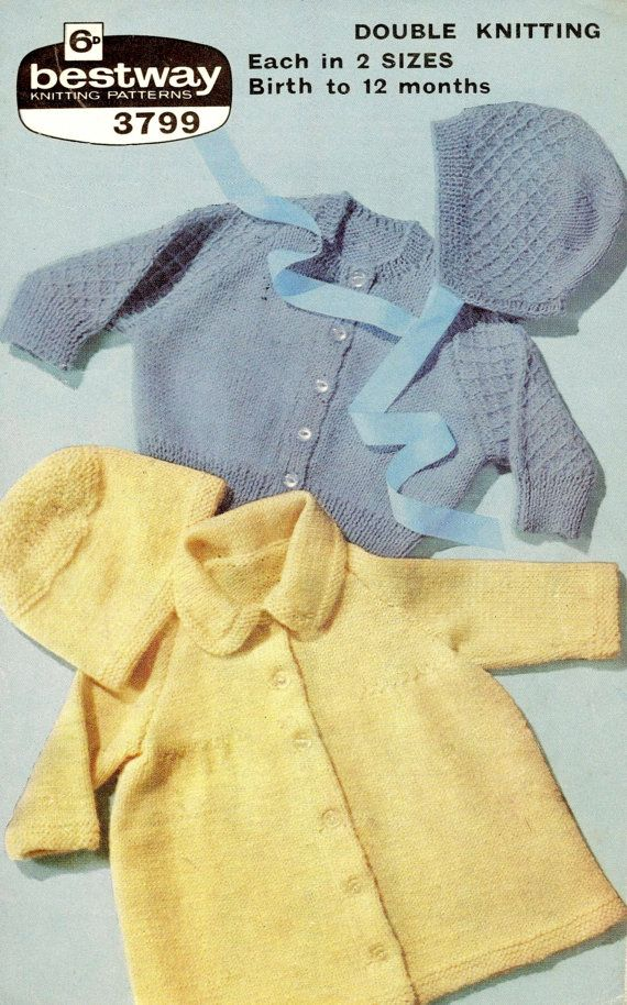 Baby Coat & Cardigan with hats in DK 8 ply yarn for size 0 - 12 ...