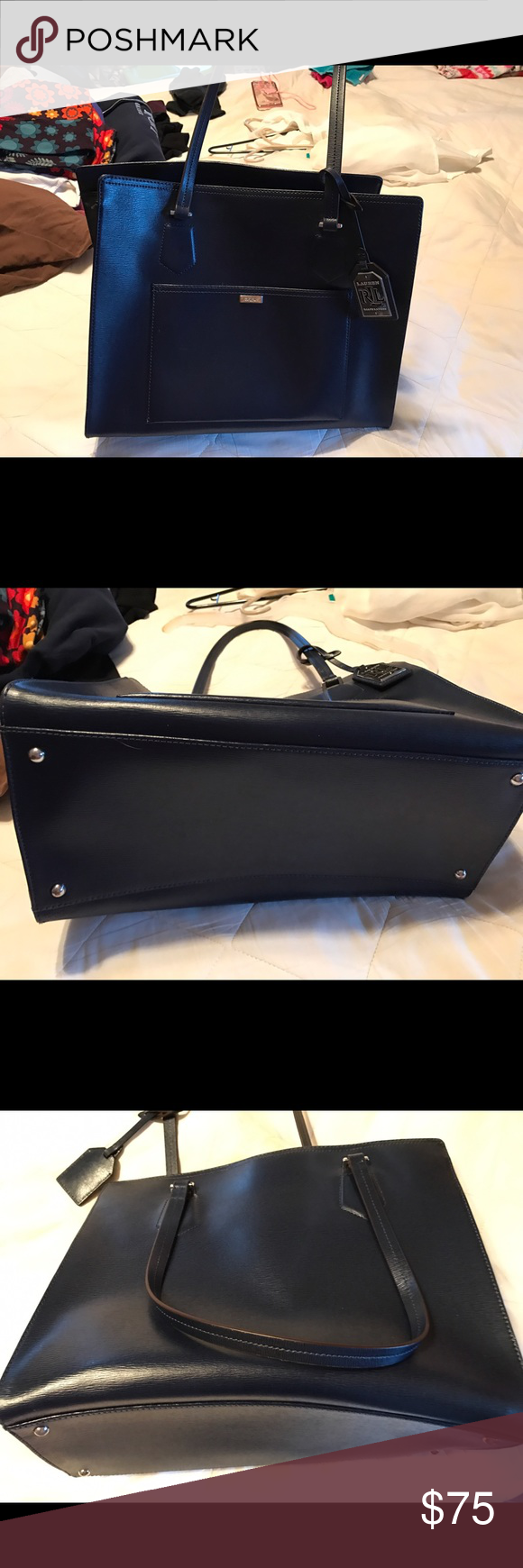 Ralph Lauren Navy leather purse Beautiful navy color with strap for over the shoulder. No marks or stains like new non smoker Ralph Lauren Bags Satchels