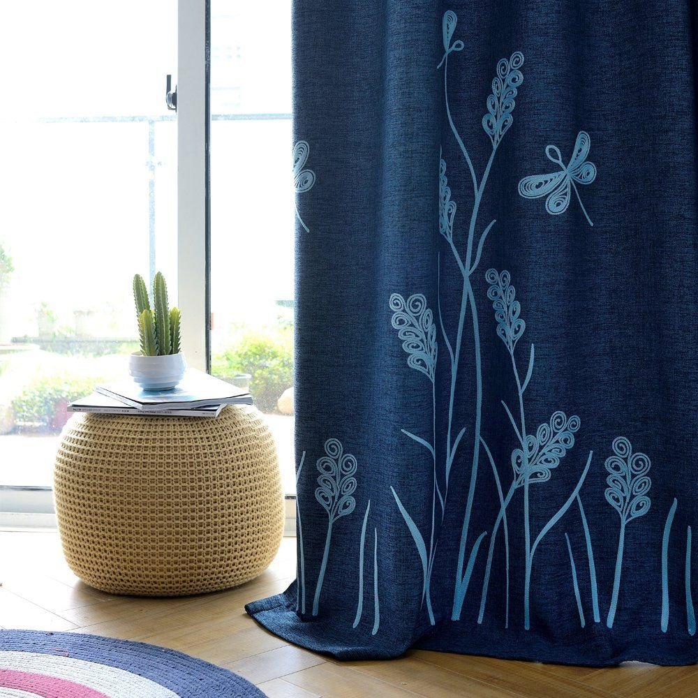 Melodieux Wheat Embroidery Linen Finishing Window Blackout Noise Free  Grommet Top Curtains For Bedroom 52 By 84 Inch Navy/Blue 1 Panel *** Find  Out More ...